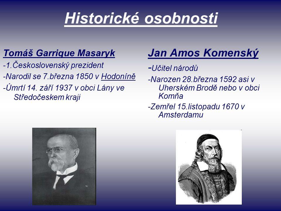 Historické osobnosti Tomáš Garrique Masaryk -1.Československý prezident -Narodil se 7.března 1850 v Hodoníně -Úmrtí 14.
