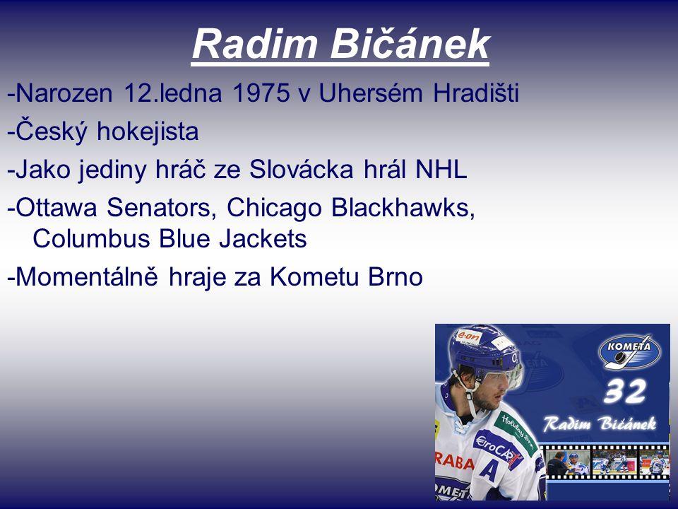 Radim Bičánek -Narozen 12.ledna 1975 v Uhersém Hradišti -Český hokejista -Jako jediny hráč ze Slovácka hrál NHL -Ottawa Senators, Chicago Blackhawks, Columbus Blue Jackets -Momentálně hraje za Kometu Brno