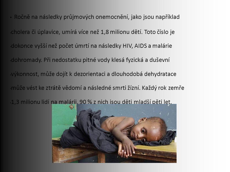 Ročně na následky průjmových onemocnění, jako jsou například cholera či úplavice, umírá více než 1,8 milionu dětí.