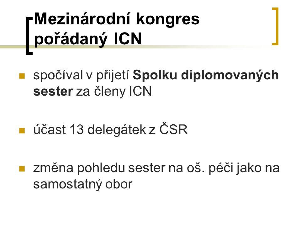 Mezinárodní kongres pořádaný ICN spočíval v přijetí Spolku diplomovaných sester za členy ICN účast 13 delegátek z ČSR změna pohledu sester na oš.