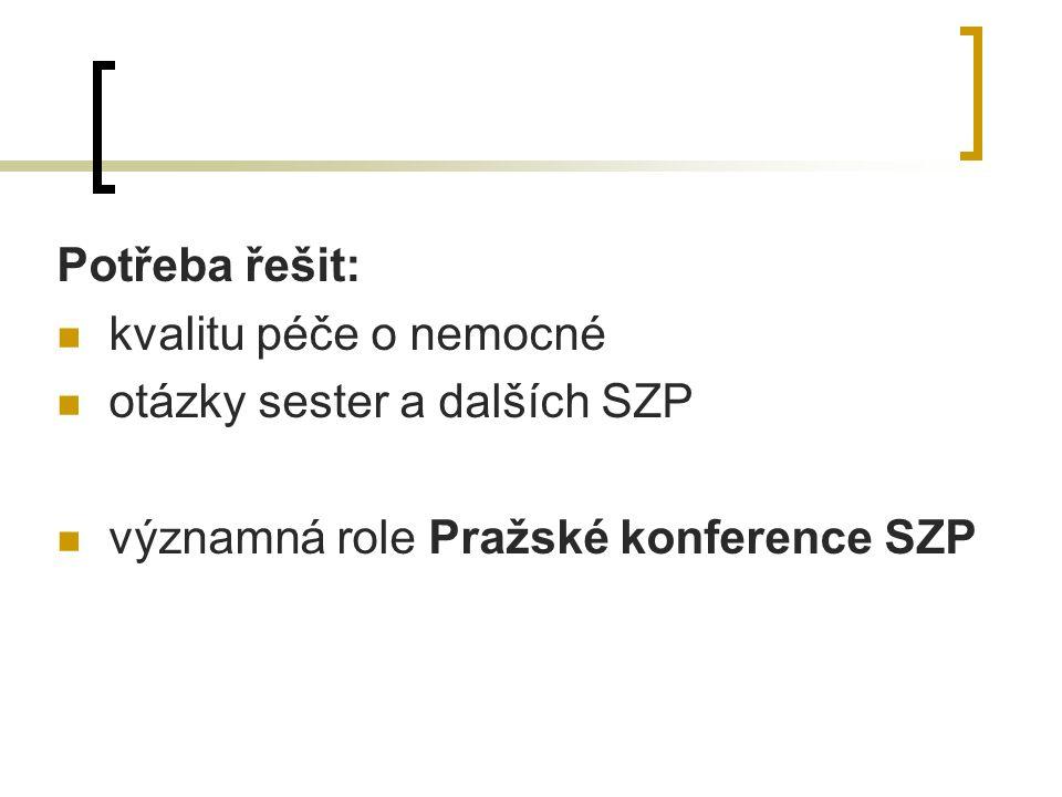 Potřeba řešit: kvalitu péče o nemocné otázky sester a dalších SZP významná role Pražské konference SZP