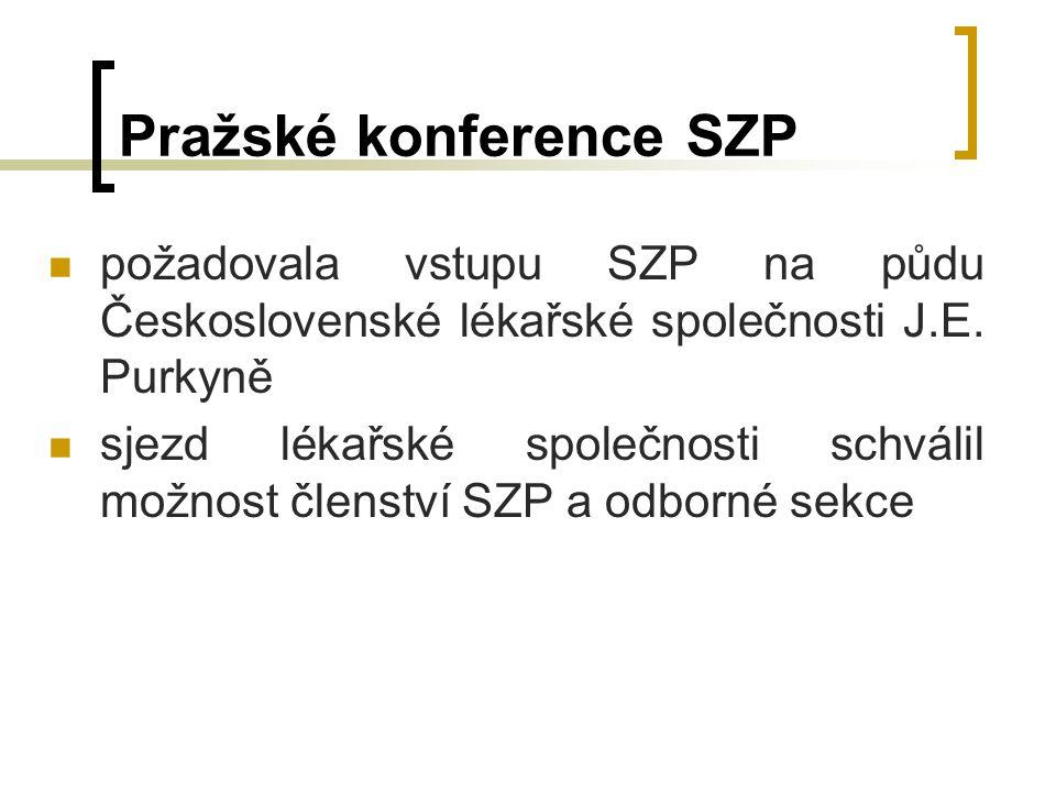 Pražské konference SZP požadovala vstupu SZP na půdu Československé lékařské společnosti J.E.