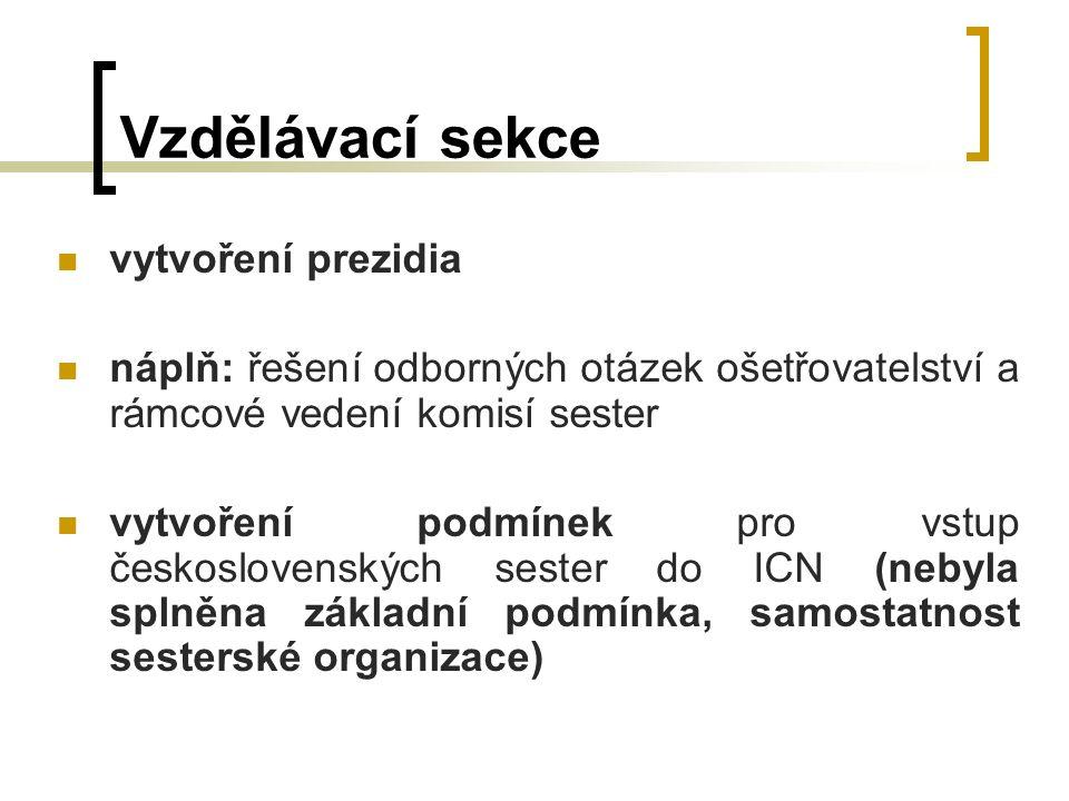 Vzdělávací sekce vytvoření prezidia náplň: řešení odborných otázek ošetřovatelství a rámcové vedení komisí sester vytvoření podmínek pro vstup československých sester do ICN (nebyla splněna základní podmínka, samostatnost sesterské organizace)