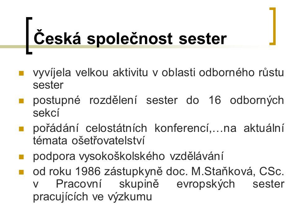 Česká společnost sester vyvíjela velkou aktivitu v oblasti odborného růstu sester postupné rozdělení sester do 16 odborných sekcí pořádání celostátních konferencí,…na aktuální témata ošetřovatelství podpora vysokoškolského vzdělávání od roku 1986 zástupkyně doc.