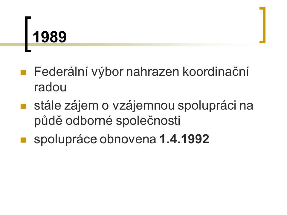 1989 Federální výbor nahrazen koordinační radou stále zájem o vzájemnou spolupráci na půdě odborné společnosti spolupráce obnovena 1.4.1992