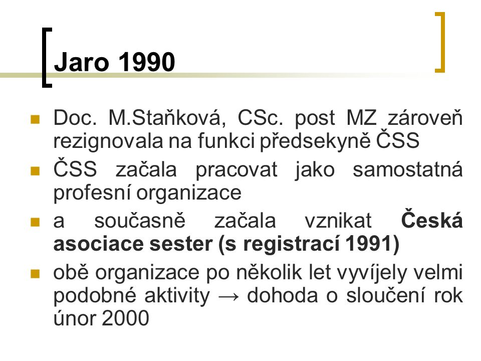 Jaro 1990 Doc. M.Staňková, CSc.