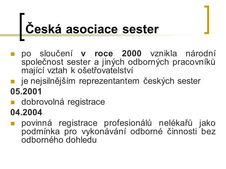 Česká asociace sester po sloučení v roce 2000 vznikla národní společnost sester a jiných odborných pracovníků mající vztah k ošetřovatelství je nejsilnějším reprezentantem českých sester 05.2001 dobrovolná registrace 04.2004 povinná registrace profesionálů nelékařů jako podmínka pro vykonávání odborné činnosti bez odborného dohledu