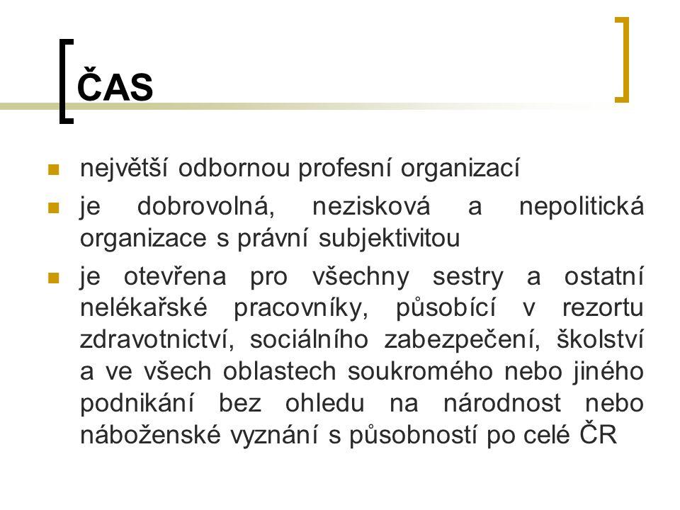 ČAS největší odbornou profesní organizací je dobrovolná, nezisková a nepolitická organizace s právní subjektivitou je otevřena pro všechny sestry a ostatní nelékařské pracovníky, působící v rezortu zdravotnictví, sociálního zabezpečení, školství a ve všech oblastech soukromého nebo jiného podnikání bez ohledu na národnost nebo náboženské vyznání s působností po celé ČR