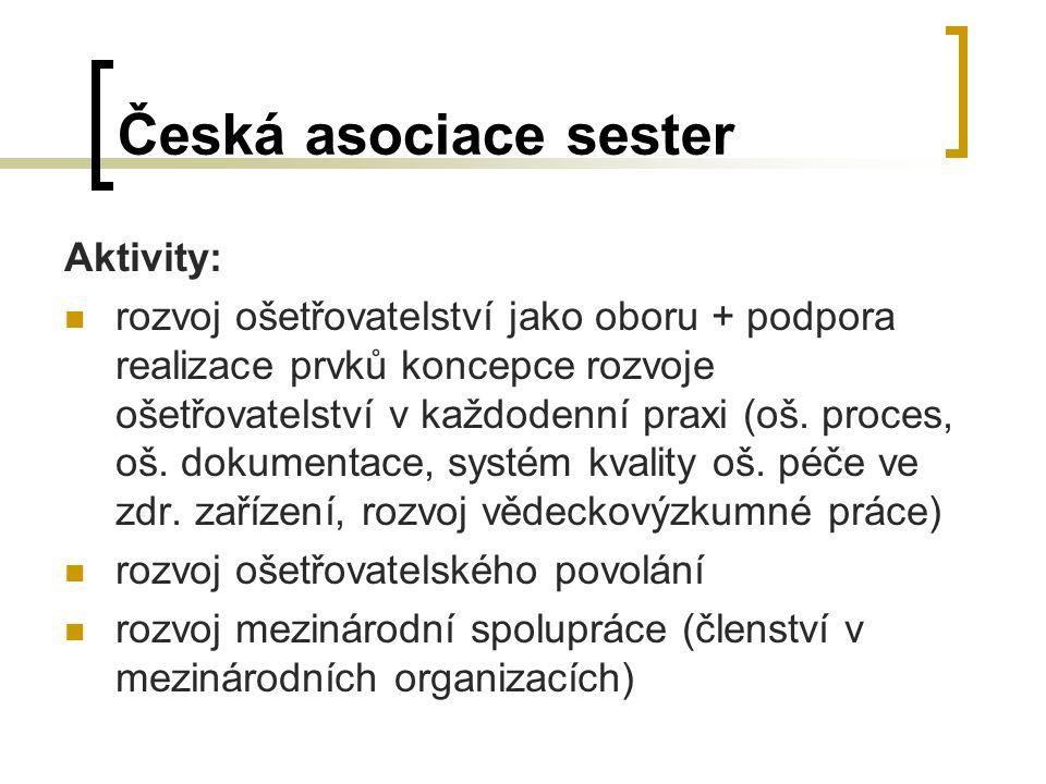 Česká asociace sester Aktivity: rozvoj ošetřovatelství jako oboru + podpora realizace prvků koncepce rozvoje ošetřovatelství v každodenní praxi (oš.