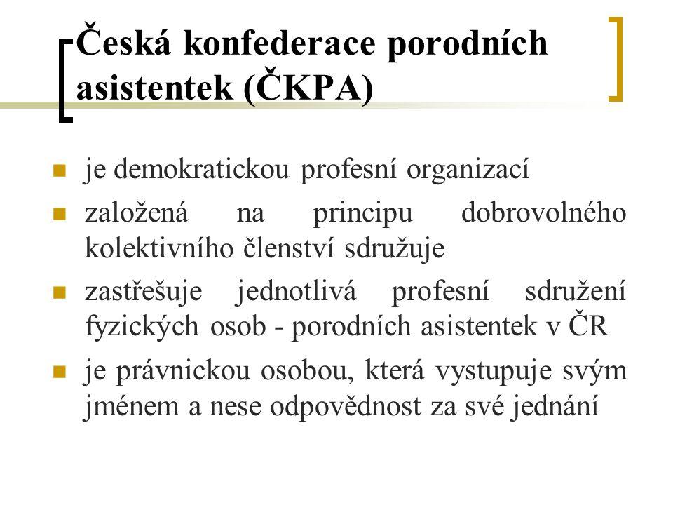 Česká konfederace porodních asistentek (ČKPA) je demokratickou profesní organizací založená na principu dobrovolného kolektivního členství sdružuje zastřešuje jednotlivá profesní sdružení fyzických osob - porodních asistentek v ČR je právnickou osobou, která vystupuje svým jménem a nese odpovědnost za své jednání