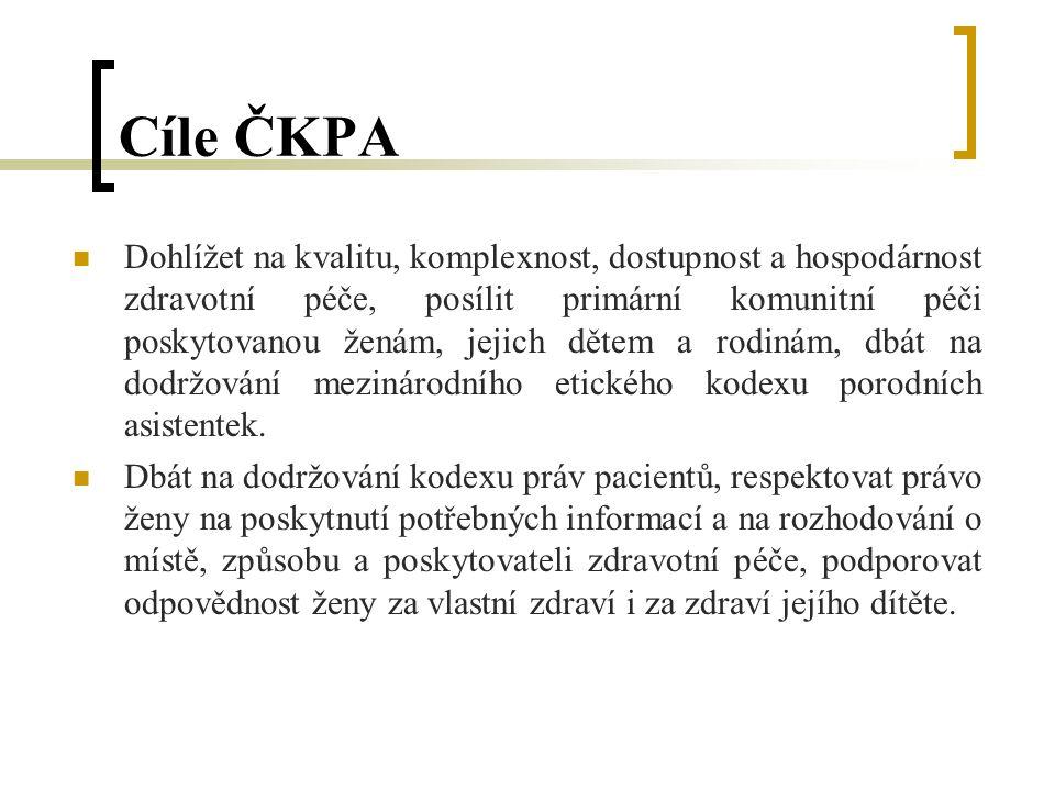 Cíle ČKPA Dohlížet na kvalitu, komplexnost, dostupnost a hospodárnost zdravotní péče, posílit primární komunitní péči poskytovanou ženám, jejich dětem a rodinám, dbát na dodržování mezinárodního etického kodexu porodních asistentek.
