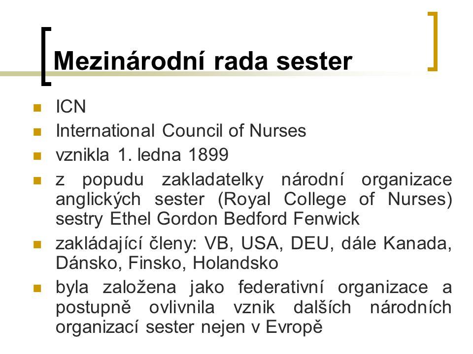 Mezinárodní rada sester ICN International Council of Nurses vznikla 1.