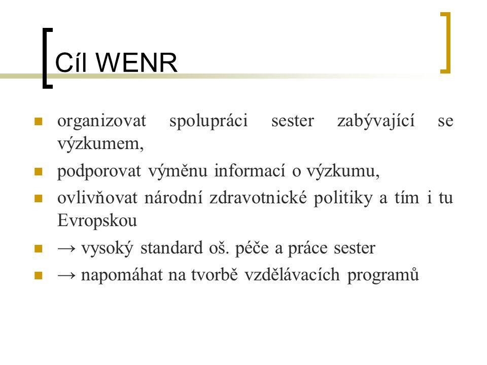 Cíl WENR organizovat spolupráci sester zabývající se výzkumem, podporovat výměnu informací o výzkumu, ovlivňovat národní zdravotnické politiky a tím i tu Evropskou → vysoký standard oš.