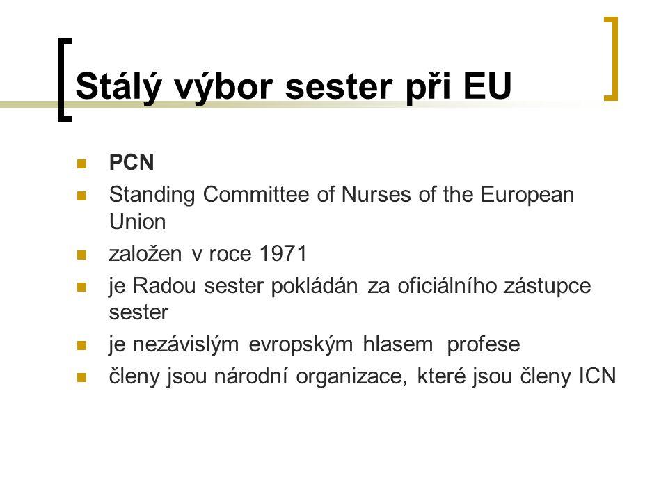 Stálý výbor sester při EU PCN Standing Committee of Nurses of the European Union založen v roce 1971 je Radou sester pokládán za oficiálního zástupce sester je nezávislým evropským hlasem profese členy jsou národní organizace, které jsou členy ICN