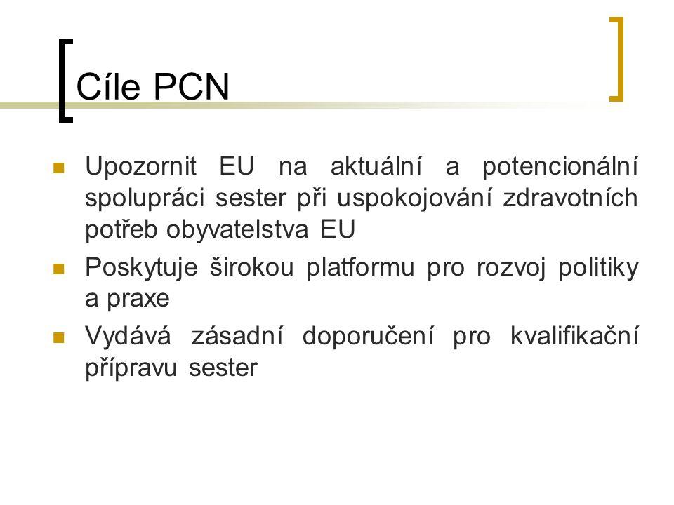 Cíle PCN Upozornit EU na aktuální a potencionální spolupráci sester při uspokojování zdravotních potřeb obyvatelstva EU Poskytuje širokou platformu pro rozvoj politiky a praxe Vydává zásadní doporučení pro kvalifikační přípravu sester