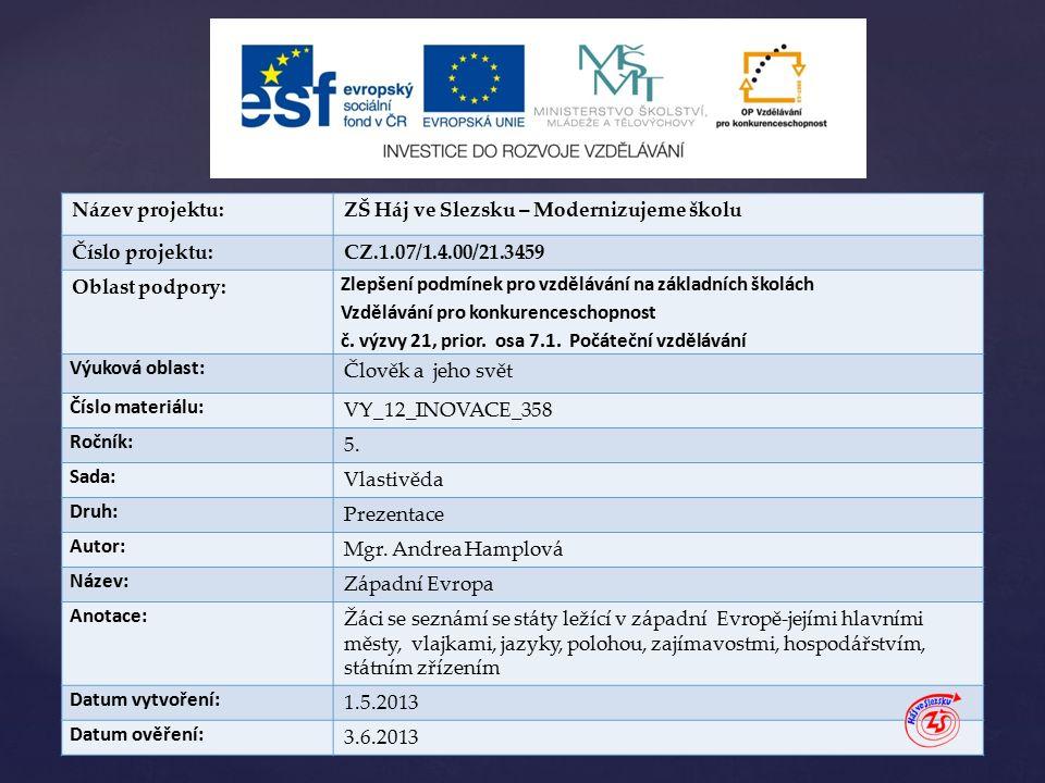 { Název projektu:ZŠ Háj ve Slezsku – Modernizujeme školu Číslo projektu:CZ.1.07/1.4.00/21.3459 Oblast podpory: Zlepšení podmínek pro vzdělávání na základních školách Vzdělávání pro konkurenceschopnost č.