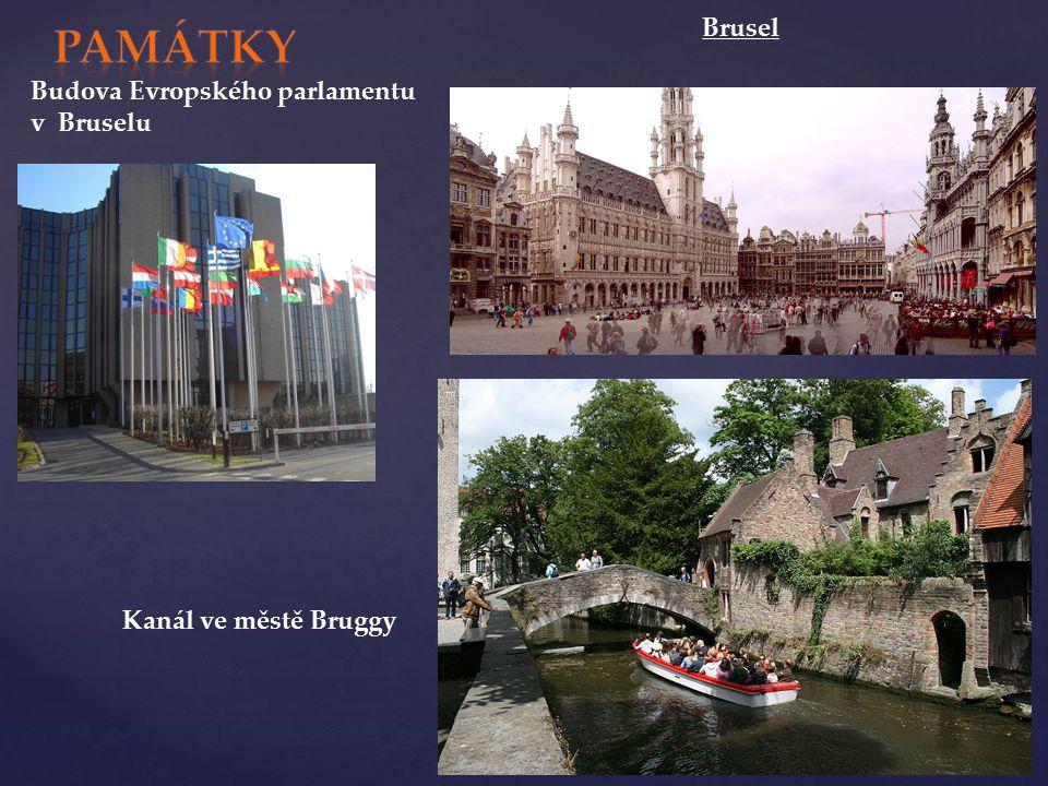 Brusel Budova Evropského parlamentu v Bruselu Kanál ve městě Bruggy