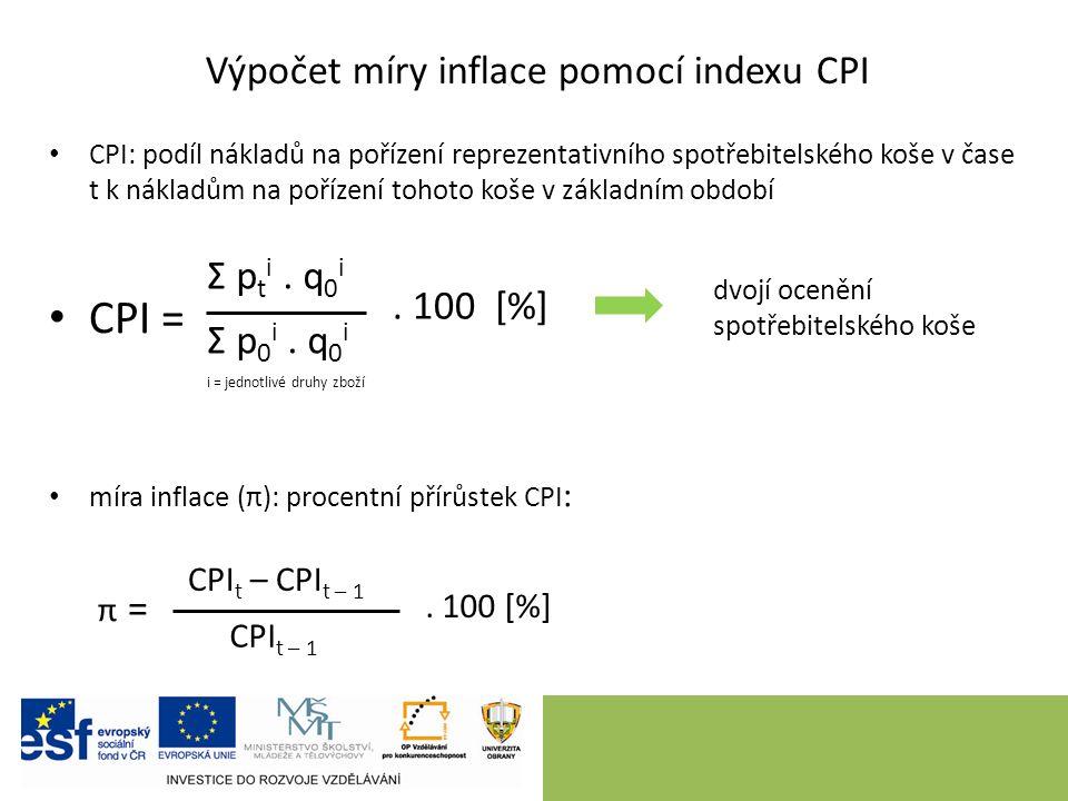 CPI: podíl nákladů na pořízení reprezentativního spotřebitelského koše v čase t k nákladům na pořízení tohoto koše v základním období CPI = míra infla
