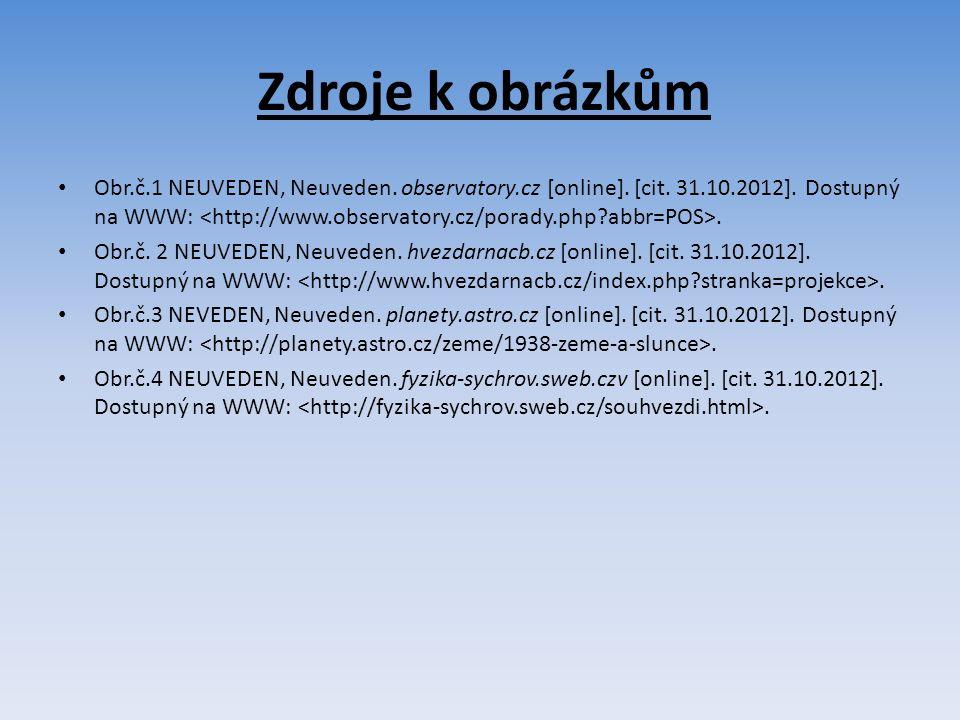 Zdroje k obrázkům Obr.č.1 NEUVEDEN, Neuveden. observatory.cz [online].