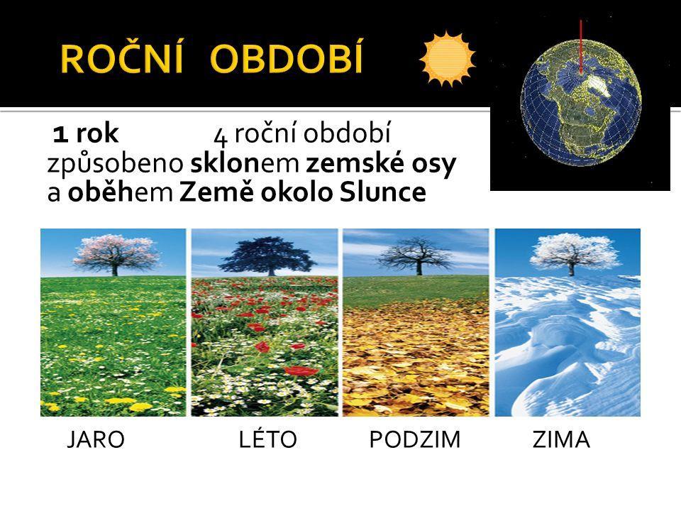 1 rok 4 roční období způsobeno sklonem zemské osy a oběhem Země okolo Slunce JARO LÉTO PODZIM ZIMA