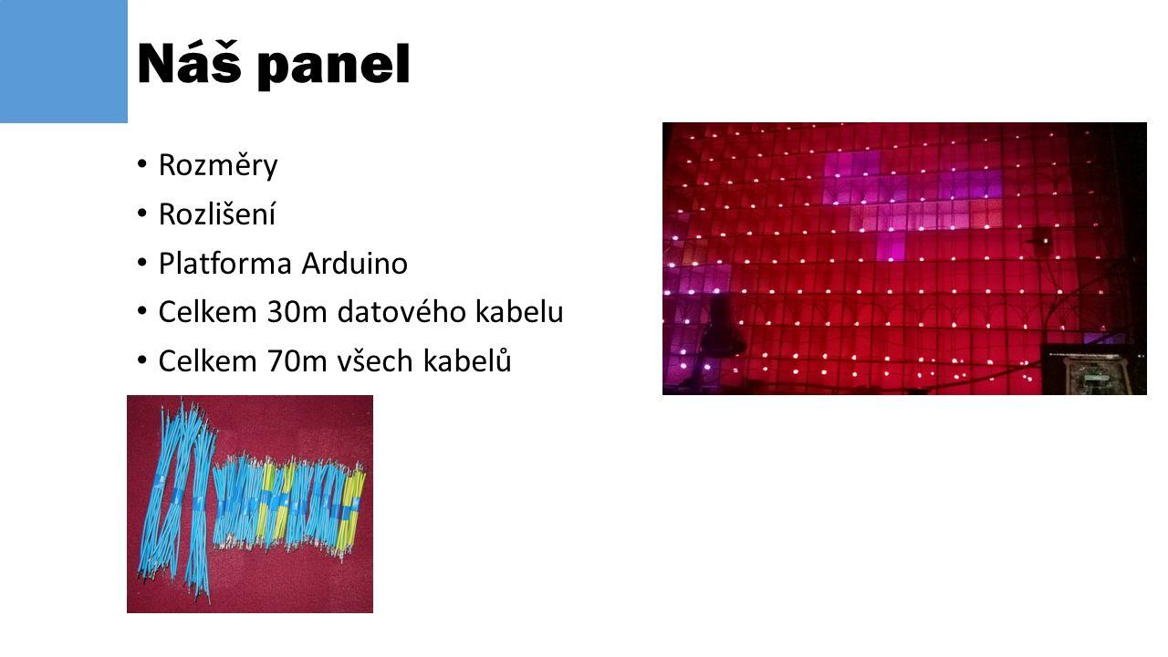 Rozměry Rozlišení Platforma Arduino Celkem 30m datového kabelu Celkem 70m všech kabelů Náš panel