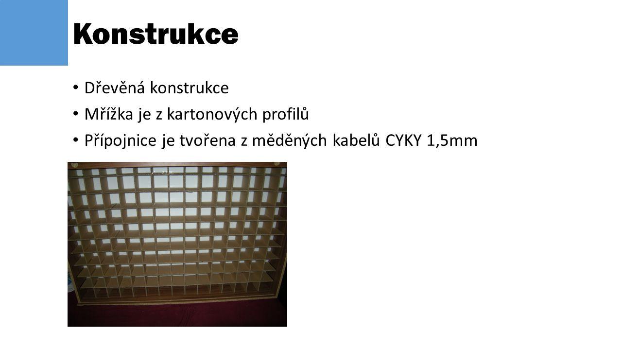 Dřevěná konstrukce Mřížka je z kartonových profilů Přípojnice je tvořena z měděných kabelů CYKY 1,5mm Konstrukce