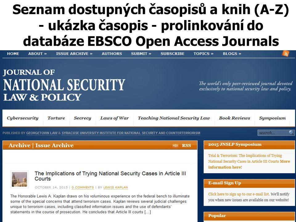 Seznam dostupných časopisů a knih (A-Z) - ukázka časopis - prolinkování do databáze EBSCO Open Access Journals