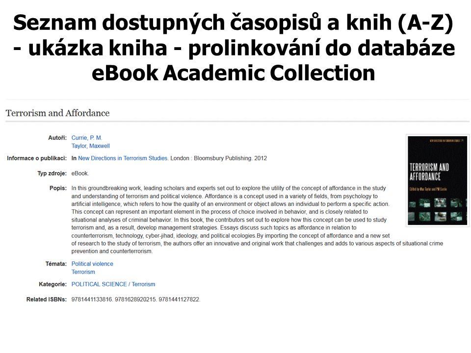 Seznam dostupných časopisů a knih (A-Z) - ukázka kniha - prolinkování do databáze eBook Academic Collection