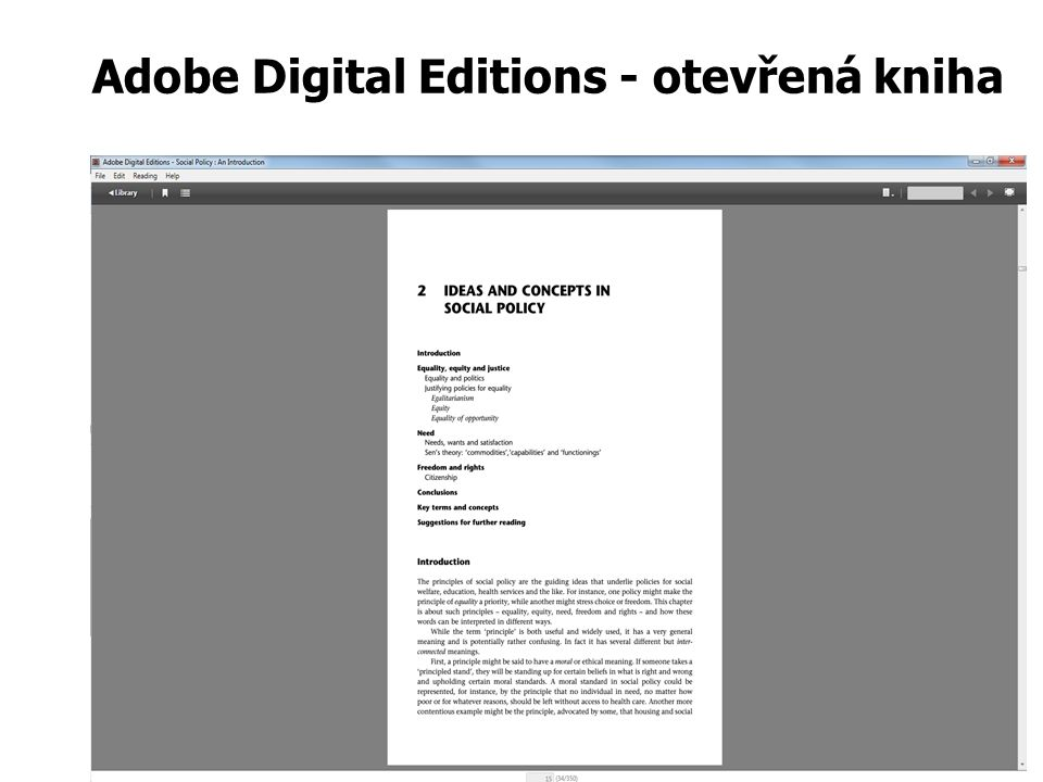Adobe Digital Editions - otevřená kniha