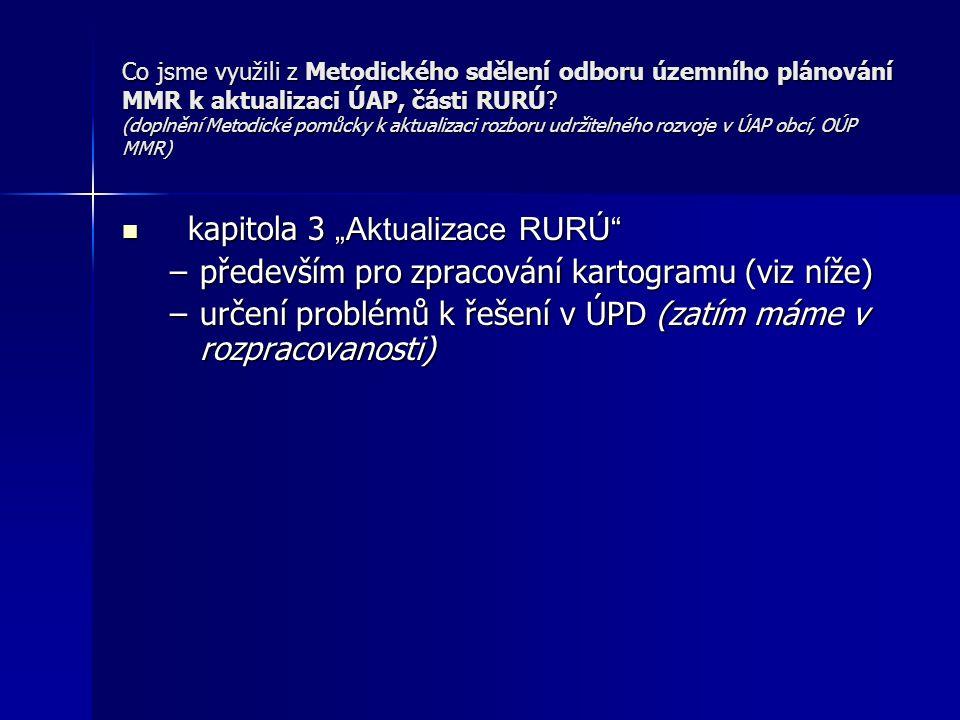 Co jsme využili z Metodického sdělení odboru územního plánování MMR k aktualizaci ÚAP, části RURÚ.
