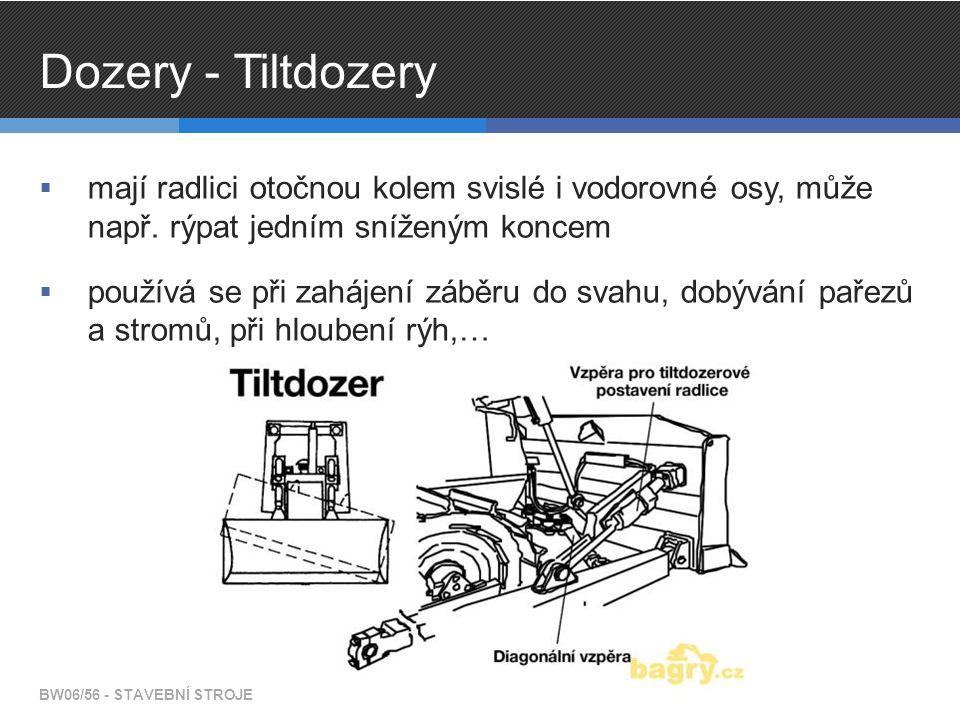 Dozery - Tiltdozery  mají radlici otočnou kolem svislé i vodorovné osy, může např. rýpat jedním sníženým koncem  používá se při zahájení záběru do s
