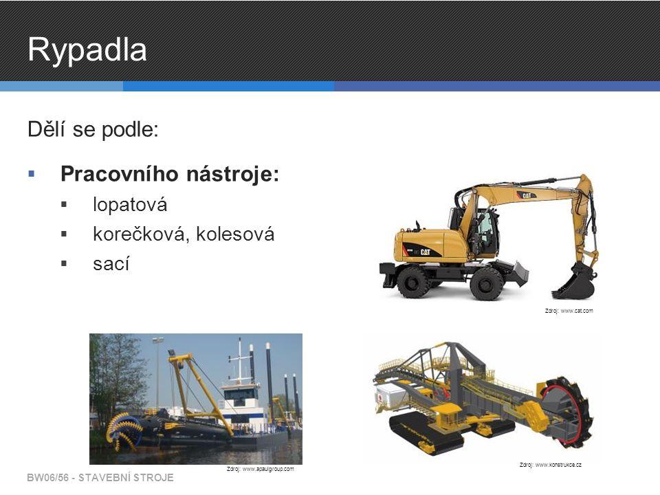 Rypadla Dělí se podle:  Pracovního nástroje:  lopatová  korečková, kolesová  sací BW06/56 - STAVEBNÍ STROJE Zdroj: www.cat.com Zdroj: www.konstruk