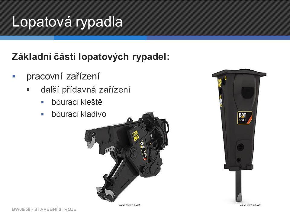 Lopatová rypadla Základní části lopatových rypadel:  pracovní zařízení  další přídavná zařízení  bourací kleště  bourací kladivo BW06/56 - STAVEBN