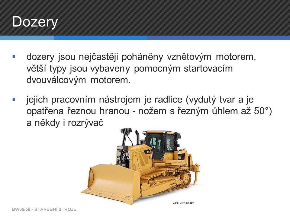 Grejdry  pohon je zajištěn vznětovým motorem  zadní nápravy jsou hnané, přední náprava je určena pouze pro řízení grejdru BW06/56 - STAVEBNÍ STROJE Zdroj: www.cat.com