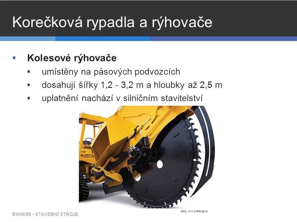 Korečková rypadla a rýhovače  Kolesové rýhovače  umístěny na pásových podvozcích  dosahují šířky 1,2 - 3,2 m a hloubky až 2,5 m  uplatnění nachází v silničním stavitelství BW06/56 - STAVEBNÍ STROJE Zdroj: www.profistroje.cz