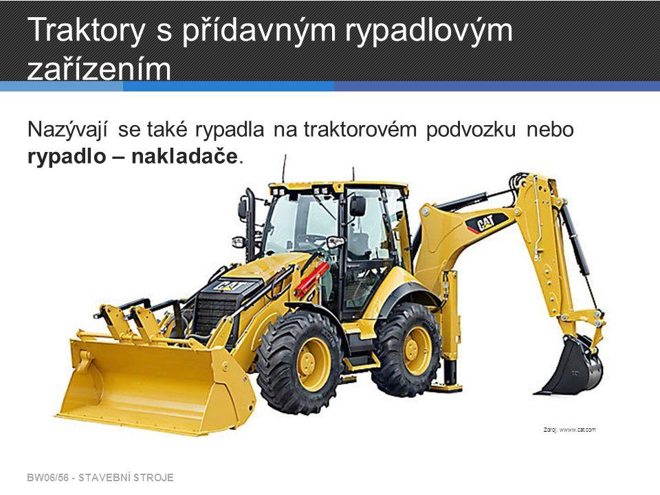 Traktory s přídavným rypadlovým zařízením Nazývají se také rypadla na traktorovém podvozku nebo rypadlo – nakladače. BW06/56 - STAVEBNÍ STROJE Zdroj: