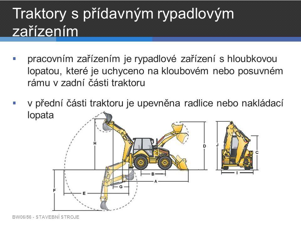 Traktory s přídavným rypadlovým zařízením  pracovním zařízením je rypadlové zařízení s hloubkovou lopatou, které je uchyceno na kloubovém nebo posuvn