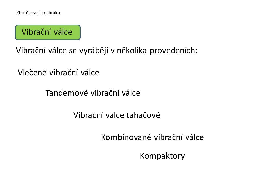 Zhutňovací technika Vibrační válce Vibrační válce se vyrábějí v několika provedeních: Vlečené vibrační válce Tandemové vibrační válce Vibrační válce tahačové Kompaktory Kombinované vibrační válce