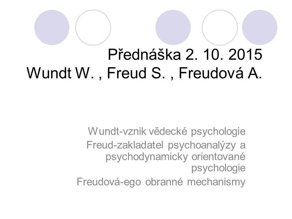 Přednáška 2. 10. 2015 Wundt W., Freud S., Freudová A.