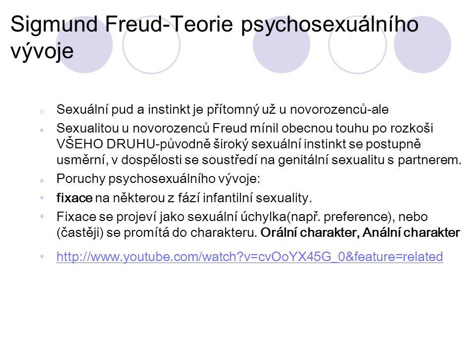 Sigmund Freud-Teorie psychosexuálního vývoje  Sexuální pud a instinkt je přítomný už u novorozenců-ale Sexualitou u novorozenců Freud mínil obecnou touhu po rozkoši VŠEHO DRUHU-původně široký sexuální instinkt se postupně usměrní, v dospělosti se soustředí na genitální sexualitu s partnerem.