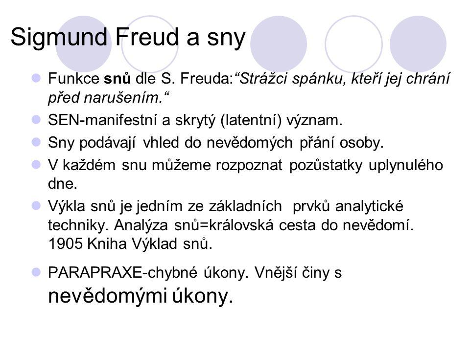 Sigmund Freud a sny Funkce snů dle S.