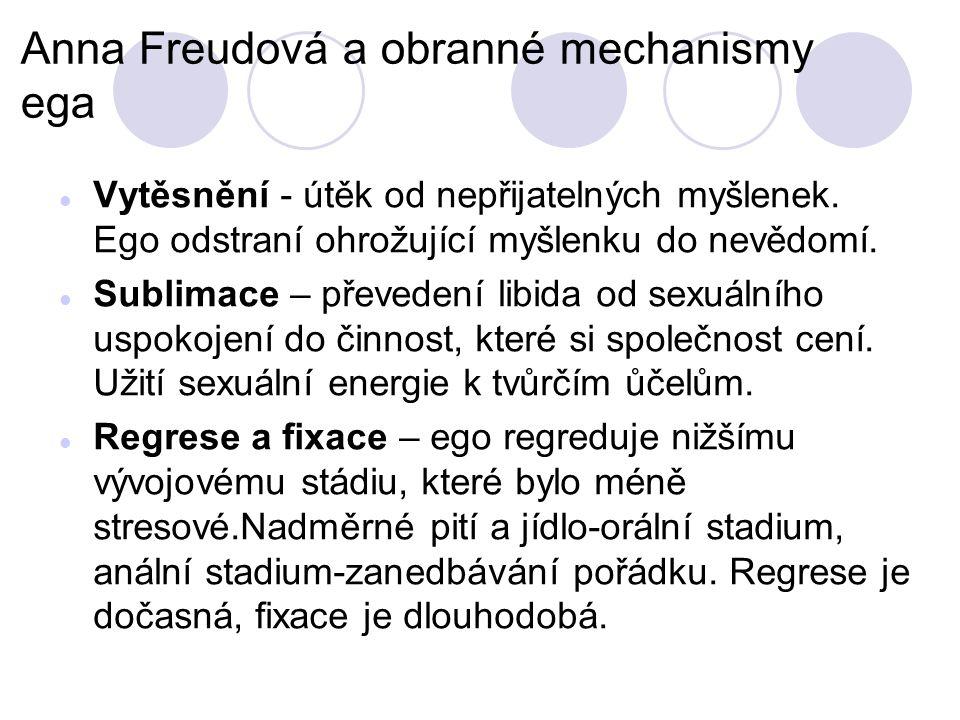 Anna Freudová a obranné mechanismy ega Vytěsnění - útěk od nepřijatelných myšlenek.