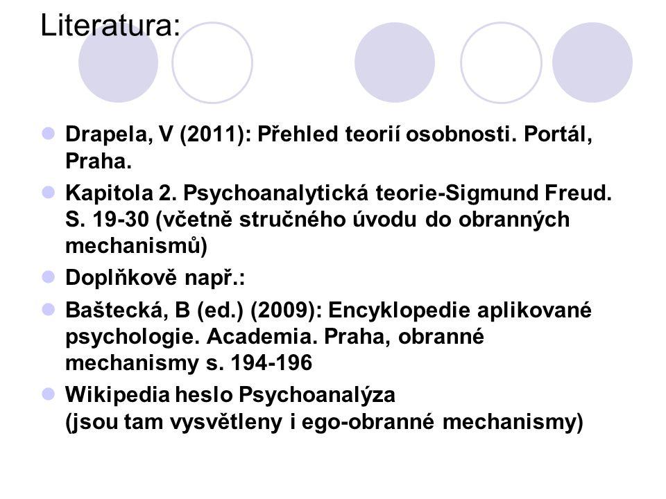 Literatura: Drapela, V (2011): Přehled teorií osobnosti.