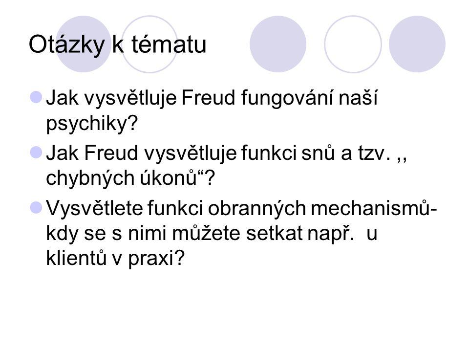 Otázky k tématu Jak vysvětluje Freud fungování naší psychiky.