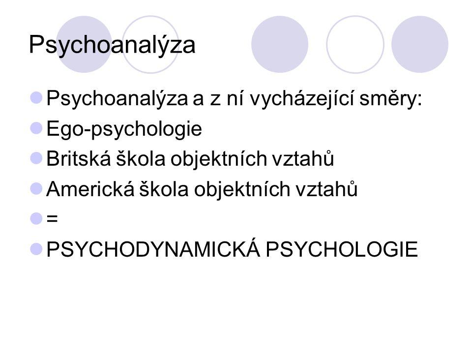 Psychoanalýza Psychoanalýza a z ní vycházející směry: Ego-psychologie Britská škola objektních vztahů Americká škola objektních vztahů = PSYCHODYNAMICKÁ PSYCHOLOGIE