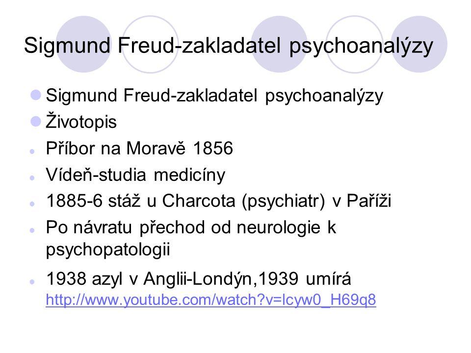 Sigmund Freud-zakladatel psychoanalýzy Životopis Příbor na Moravě 1856 Vídeň-studia medicíny 1885-6 stáž u Charcota (psychiatr) v Paříži Po návratu přechod od neurologie k psychopatologii 1938 azyl v Anglii-Londýn,1939 umírá http://www.youtube.com/watch v=lcyw0_H69q8 http://www.youtube.com/watch v=lcyw0_H69q8