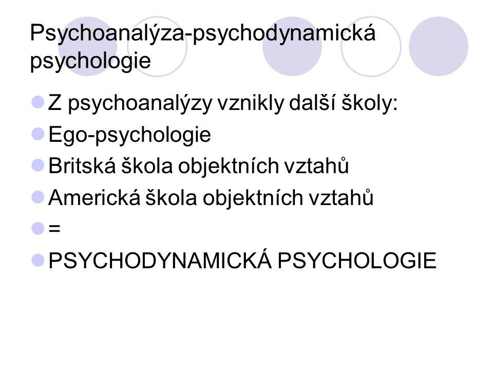 Psychoanalýza-psychodynamická psychologie Z psychoanalýzy vznikly další školy: Ego-psychologie Britská škola objektních vztahů Americká škola objektních vztahů = PSYCHODYNAMICKÁ PSYCHOLOGIE