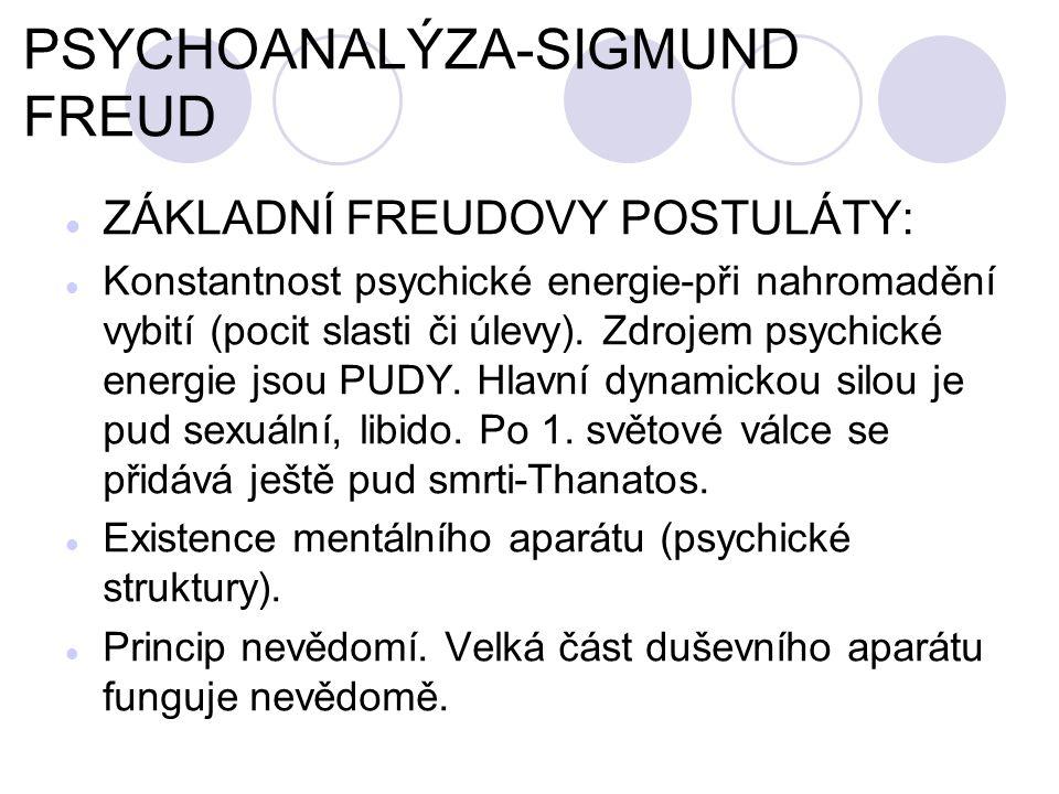 PSYCHOANALÝZA-SIGMUND FREUD ZÁKLADNÍ FREUDOVY POSTULÁTY: Konstantnost psychické energie-při nahromadění vybití (pocit slasti či úlevy).