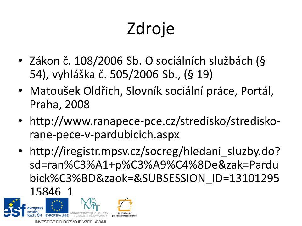 Zdroje Zákon č. 108/2006 Sb. O sociálních službách (§ 54), vyhláška č.