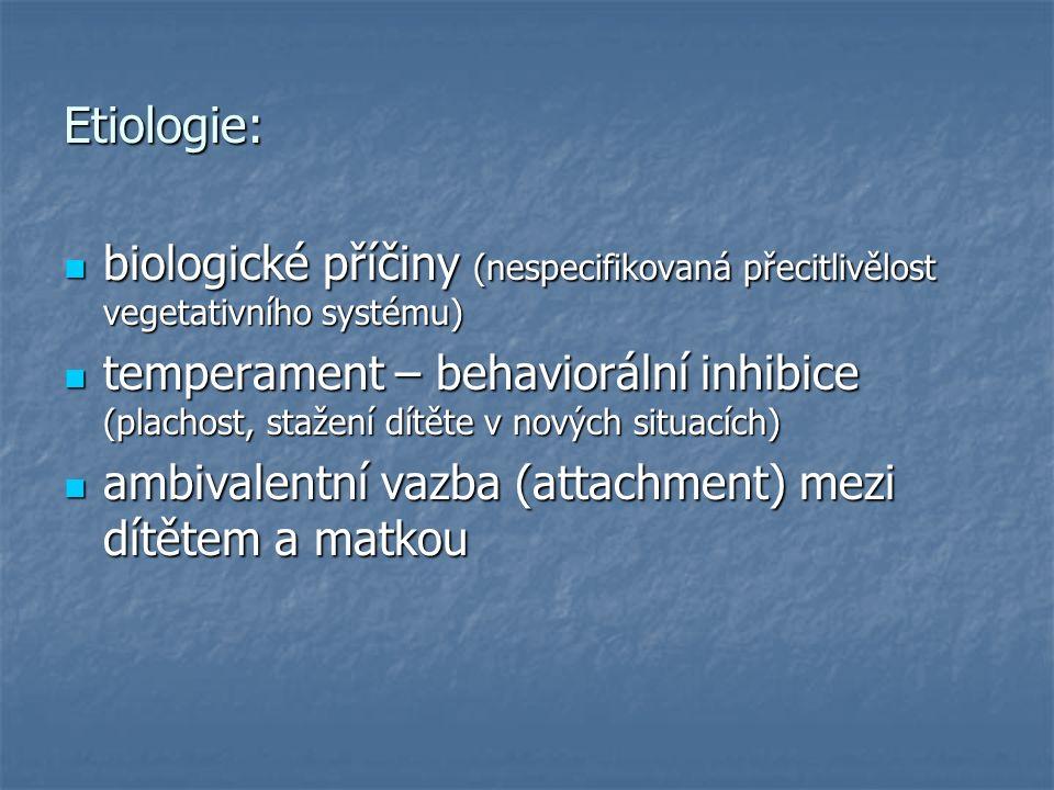 Etiologie: biologické příčiny (nespecifikovaná přecitlivělost vegetativního systému) biologické příčiny (nespecifikovaná přecitlivělost vegetativního systému) temperament – behaviorální inhibice (plachost, stažení dítěte v nových situacích) temperament – behaviorální inhibice (plachost, stažení dítěte v nových situacích) ambivalentní vazba (attachment) mezi dítětem a matkou ambivalentní vazba (attachment) mezi dítětem a matkou